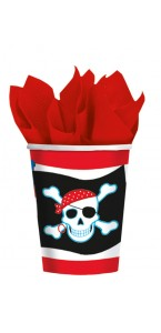 Lot de 8 gobelets jetables en carton Pirate Party 26 cl