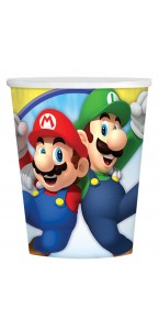 Lot de 8 gobelets jetables en carton Super Mario 26 cl