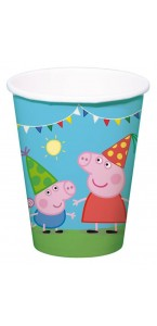 Lot de 8 gobelets jetables Peppa Pig 250 ml