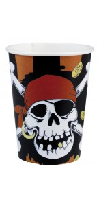 Lot de 8 gobelets jetables pirate Jolly Roger