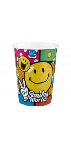 Lot de 8 gobelets jetables Smiley Comic en carton 26,6 cl