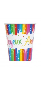 Lot de 8 gobelets Party Streamers en plastique  20 cl