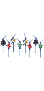 Lot de 8 Pailles flexibles Angry Birds 24 cm