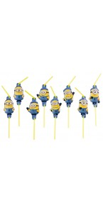 Lot de 8 Pailles flexibles Minions 24 cm
