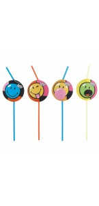 Lot de 8 Pailles flexibles Smiley Comic 24 cm