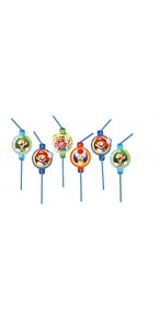 Lot de 8 pailles flexibles Super Mario 24 cm