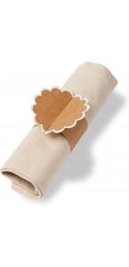 Lot de 8 ronds de serviettes Kraft bord blanc pailleté 23 x 7 cm