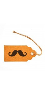 Lot de 8 Tags Kraft avec moustache