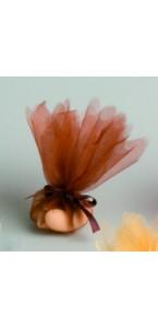 Lot de10 ronds de tulle cristal chocolat D 24 cm