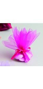 Lot de10 ronds de tulle cristal fuschia D 24 cm