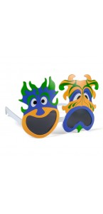 Lunettes carnaval Jaunes, bleues vertes