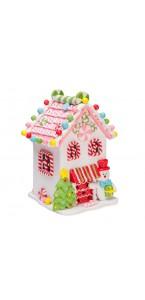 Maison Noël blanc lumineuse GM 19,5 x 13 x 12 cm
