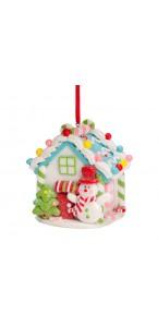 Maison Noël blanc lumineuse PM 7,5 x 8,5 x 6 cm