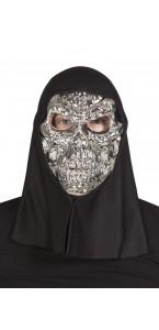 Masque tête de mort argentée+capuche Halloween