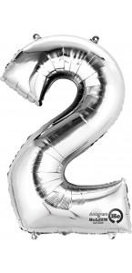 Mini ballon Chiffre 2 argent