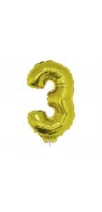 Mini Ballon chiffre 3 aluminium or