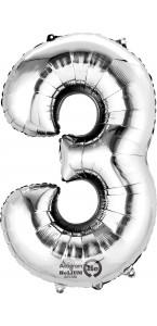 Mini ballon Chiffre 3 argent