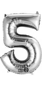 Mini ballon Chiffre 5 argent