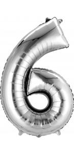 Mini ballon Chiffre 6 argent