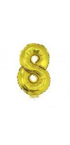 Mini Ballon chiffre 8 aluminium or