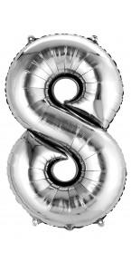 Mini ballon Chiffre 8 argent