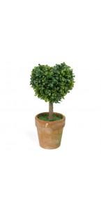 Mini Plante artificielle cœur buis vert 7,5 x 5,5 x 15 cm