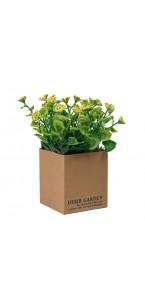 Mini Plante verte artificielle jaune 12 x 12 x 15 cm