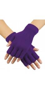 Mitaines violet fluo en tricot