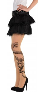 Paire de collants Vaudou Witch Doctor avec serpent Halloween