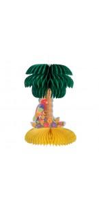 Palmier & perroquet en papier alvéolé vert et jaune