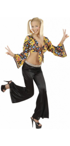 Pantalon strech 70s noir femme