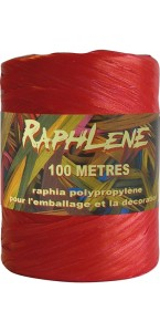 Pelote de raphia rouge 100 m