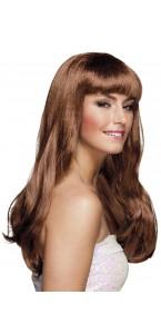 Perruque cheveux longs Chique pour femme marron