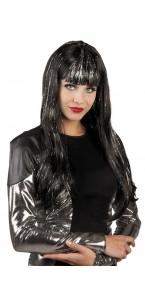 Perruque cheveux longs Glamour noire à mèches argentées