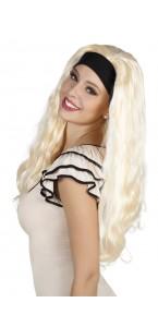 Perruque cheveux longs Jacky blonde avec bandeau