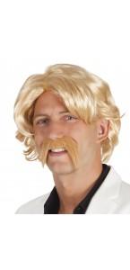 Perruque Chuck blond  avec moustache