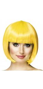 Perruque courte cabaret pour femme jaune
