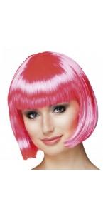 Perruque courte cabaret pour femme rose fluo