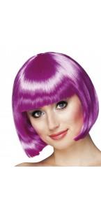 Perruque courte cabaret pour femme violette