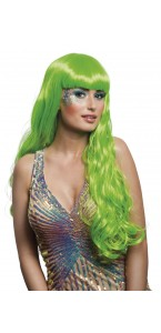 Perruque de sirène verte longue
