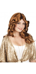 Perruque disco doll marron