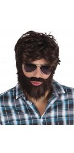 Perruque Dude châtain avec barbe et moustache