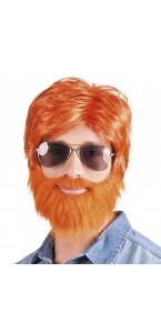 Perruque Dude rousse avec barbe