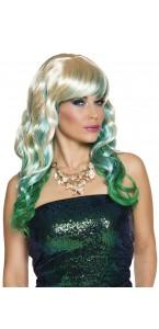 Perruque Marina 3 tons blond/bleu/vert