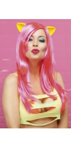 Perruque Meowy longue rose fluo + oreilles latex