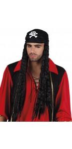 Perruque pirate Bellamy noire avec bandana