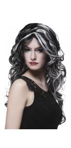 Perruque sorcière des marais Halloween grise/noire