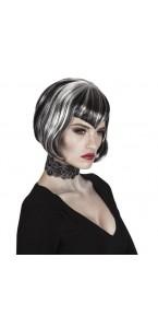 Perruque Vampire courte pour femme noire et blanche