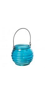 Photophore rond en verre bleu avec anse