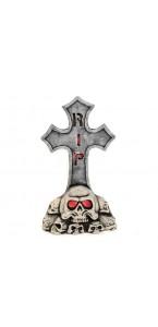 Pierre tombale croix avec crâne lumineuse Halloween 29 x 9 x 51 cm